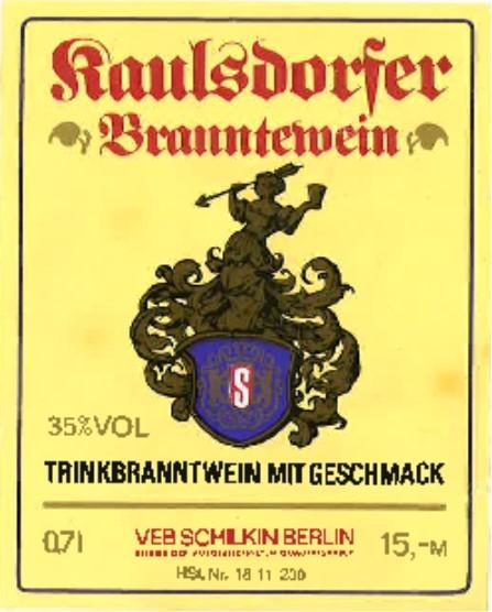 Etikett Schilkin Kaulsdorfer Branntewein