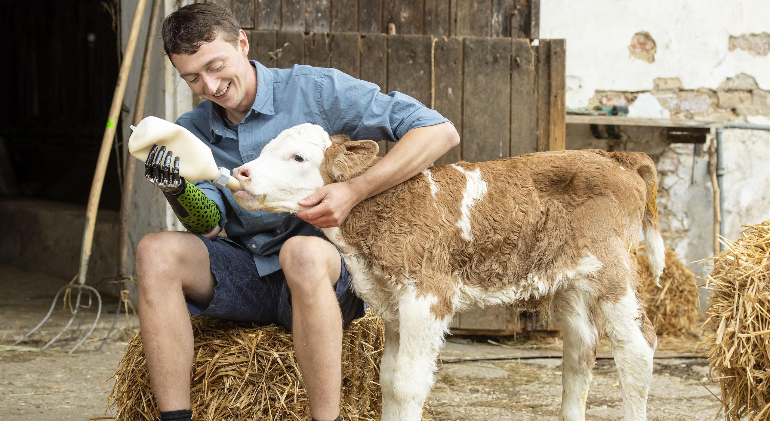 Junger Mann mit Armprothese füttert Schaf